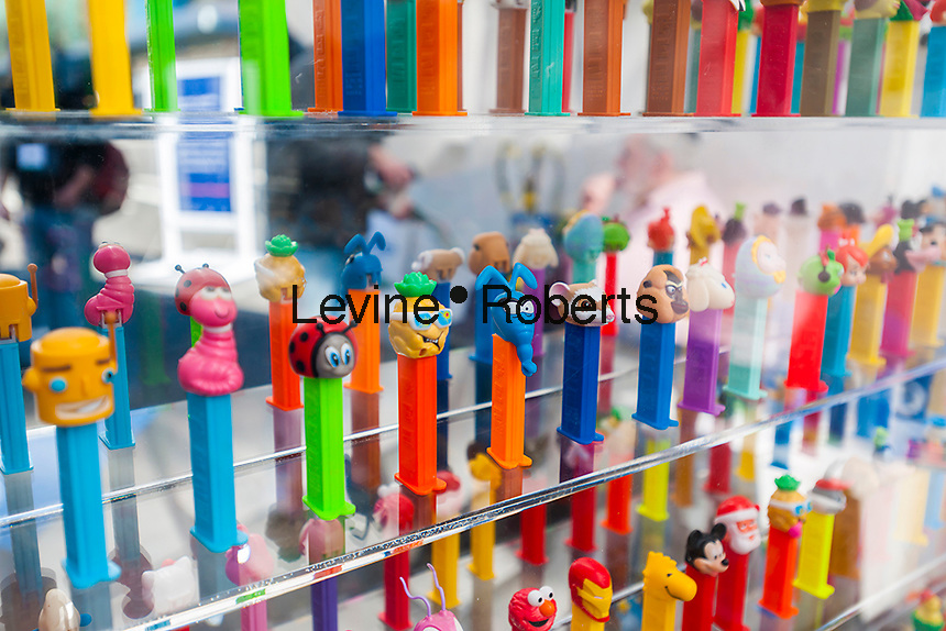 Display of collectible novelty Pez dispensers at the 114th North American International Toy Fair in the Jacob Javits Convention center in New York on Sunday, February 19, 2017.  The four day trade show with over 1000 exhibitors connects buyers and sellers and draws tens of thousands of attendees.  The toy industry generates over $26 billion in the U.S. alone and Toy Fair is the largest toy trade show in the Western Hemisphere. (© Richard B. Levine)