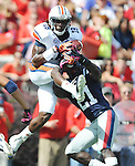 Auburn wide receiver Sammie Coates (18) makes a catch as Mississippi defensive back Senquez Golson (21) defends at Vaught-Hemingway Stadium in Oxford, Miss. on Saturday, October 13, 2012. (AP Photo/Oxford Eagle, Bruce Newman)..