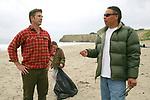 J. Nichols & Jerry Adame On Beach Cleanup