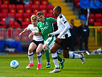 Lincoln City's Harry Anderson vies for possession with Gateshead's George Smith and Emanuel Smith<br /> <br /> Photographer Andrew Vaughan/CameraSport<br /> <br /> Vanarama National League - Gateshead v Lincoln City - Monday 17th April 2017 - Gateshead International Stadium - Gateshead <br /> <br /> World Copyright &copy; 2017 CameraSport. All rights reserved. 43 Linden Ave. Countesthorpe. Leicester. England. LE8 5PG - Tel: +44 (0) 116 277 4147 - admin@camerasport.com - www.camerasport.com