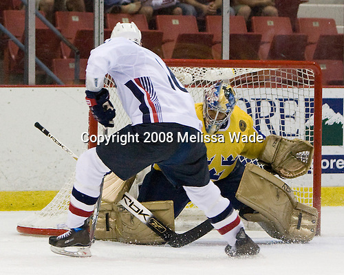 Jimmy Hayes (US White - 16), Mark Owuya (Sweden 30) - Team Sweden defeated Team USA White 7-3 on Friday, August 8, 2008, in the 1980 Rink during the 2008 US National Junior Evaluation Camp and Summer Hockey Challenge in Lake Placid, New York.