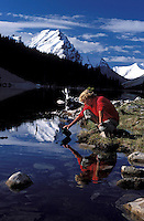 CANADA, ALBERTA, KANANASKIS, MAY 2002. Elbow Lake campsite is situated at one of the most beautiful lakes surrounded by snowy peaks.  The Kananaskis Country provincial park is home to Canada's most beautiful nature and wildlife. It has also escaped the mass tourism as in Banff National Park. Photo by Frits Meyst/Adventure4ever.com