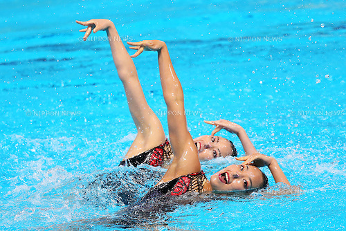 Yukiko Inui & Risako Mitsui (JPN), JULY 30, 2015 - Synchronised Swimming : 16th FINA World Championships Kazan 2015 Duets Free Routine Final at Kazan Arena in Kazan, Russia. (Photo by Yohei Osada/AFLO SPORT)