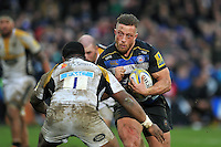 Max Lahiff of Bath Rugby takes on Simon McIntyre of Wasps. Aviva Premiership match, between Bath Rugby and Wasps on February 20, 2016 at the Recreation Ground in Bath, England. Photo by: Patrick Khachfe / Onside Images