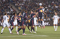 NY Red Bulls midfielder DeWayne De Rosario (11) and LA Galaxy defender Omar Gonzalez (4) go head to head in the box. The LA Galaxy and Red Bulls of New York played to a 1-1 tie at Home Depot Center stadium in Carson, California on  May 7, 2011....