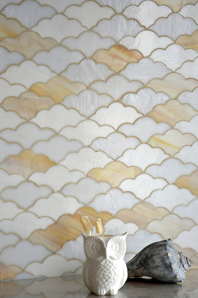 Clouds, a jewel glass mosaic in Opal, Agate, and Moonstone, is part of the Erin Adams Collection for New Ravenna Mosaics.<br />
