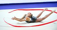 RITA MAMUN of Russia performs with ribbon at 2016 European Championships at Holon, Israel on June 18, 2016. (Long horizontal crop version)