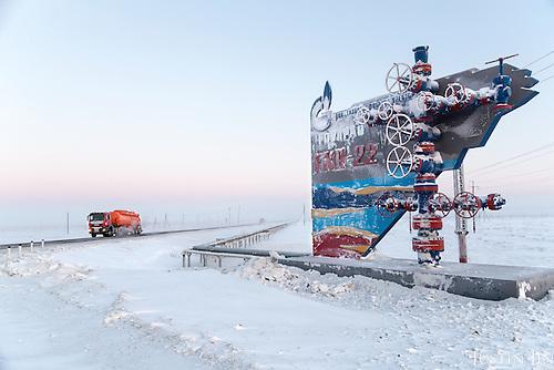 A Gazrpom sign at Novy Urengoi.