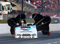 May 17, 2014; Commerce, GA, USA; NHRA funny car driver Jack Beckman slides sideways after exploding an engine during qualifying for the Southern Nationals at Atlanta Dragway. Beckman was unhurt in the explosion. Mandatory Credit: Mark J. Rebilas-USA TODAY Sports