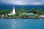 Mokuaikaua Church and Hulihe'e Palace on Kailua Bay, Kailua-Kona, The Big Island, Hawaii
