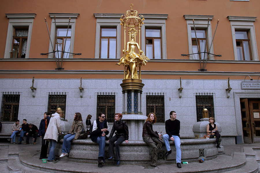 Moscow, russia, 21/04/2004..the historic stary arbat [old arbat] and