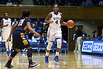 23 November 2014: Duke's Sierra Calhoun (4) and Marquette's Tia Elbert (21). The Duke University Blue Devils hosted the Marquette University Golden Eagles at Cameron Indoor Stadium in Durham, North Carolina in a 2014-15 NCAA Division I Women's Basketball game. Duke won the game 83-51.