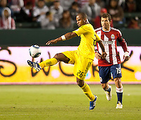 CARSON, CA – APRIL 9, 2011: Columbus Crew defender Julius James (26) receives the ball during the match between Chivas USA and Columbus Crew at the Home Depot Center, April 9, 2011 in Carson, California. Final score Chivas USA 0, Columbus Crew 0.