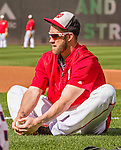22 May 2015: Washington Nationals outfielder Bryce Harper stretches out prior to a game against the Philadelphia Phillies at Nationals Park in Washington, DC. The Nationals defeated the Phillies 2-1 in the first game of their 3-game weekend series. Mandatory Credit: Ed Wolfstein Photo *** RAW (NEF) Image File Available ***