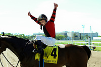 NEW ORLEANS, LA - APRIL 01: #4 Honarable Duty with James Graham up wins the New Orleans Handicap at Fairgrounds Race Course on April 1,2017 in New Orleans, Louisiana. (Photo by Steve Dalmado/Eclipse Sportswire/Getty Images)