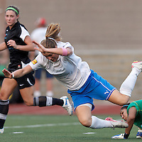Boston Breakers forward Katie Schoepfer (2) goes down and referee indicates penalty kick. In a Women's Premier Soccer League Elite (WPSL) match, the Boston Breakers defeated New England Mutiny, 4-2, at Dilboy Stadium on June 20, 2012.