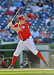 19 September 2012: Washington Nationals pitcher Jordan Zimmermann at bat against the Los Angeles Dodgers at Nationals Park in Washington, DC. The Nationals defeated the Dodgers 3-1 in the first game of their double-header. Mandatory Credit: Ed Wolfstein Photo