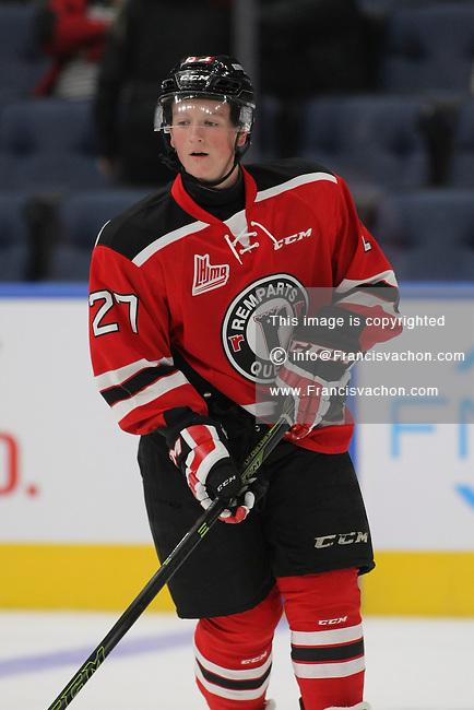 QMJHL (LHJMQ) hockey profile photo on Quebec Remparts Derek Gentile October 8, 2015 at the Centre Videotron in Quebec city.