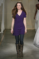Fashion designer Carol Hannah Whitfield, walks the runway at the close of her Carol Hannah Spring Summer 2012 Bridal collection runway show.