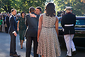 US President Barack Obama (2L), First Lady Michelle Obama (R) greet Italian Prime Minister Matteo Renzi (2R) and Italian First Lady Agnese Landini (L) as they arrive to an official arrival ceremony on the South Lawn of the White House in Washington DC, USA, 18 October 2016. Later today President Obama and First Lady Michelle Obama will host their final state dinner featuring celebrity chef Mario Batali and singer Gwen Stefani performing after dinner. <br /> Credit: Shawn Thew / Pool via CNP