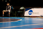 LA CROSSE, WI - MARCH 11:  A wrestler awaits the beginning of the Division III Men's Wrestling Championship held at the La Crosse Center on March 11, 2017 in La Crosse, Wisconsin. (Photo by Carlos Gonzalez/NCAA Photos via Getty Images)