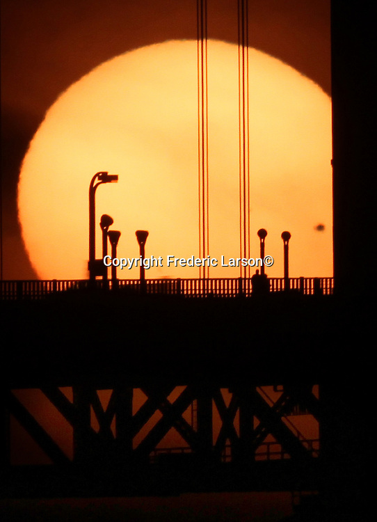 The planet Venus made a rare transit in front of the sun while setting behind the Golden Gate Bridge on Tuesday 6/5.  To see another one, you'll have to wait 105 years. .. .