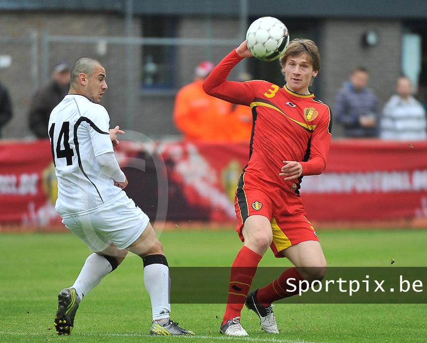 Georgia U19 - Belgium U19 : Gilles Ruyssen (3) and Giorgi Pantsulaia (14)<br /> foto DAVID CATRY / Nikonpro.be