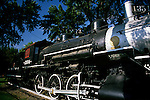 Northern Pacific Railroad historic engine on display in a downtown park in Pasco Washington State USA..