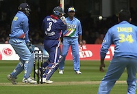 .29/06/2002.Sport - Cricket - .NatWest triangler Series England - Sri Lanka - India.England vs india 50 overs.  Lord's ground.England batting -  Nasser Hussian ..