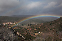 A double rainbow over the village of Cucugnan, in Cathar country, near Corbieres, Aude, Languedoc-Roussillon, France. Picture by Manuel Cohen