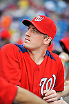 10 March 2012: Washington Nationals' pitcher Jordan Zimmermann watches play from the dugout during a Spring Training game against the New York Mets at Space Coast Stadium in Viera, Florida. The Nationals defeated the Mets 8-2 in Grapefruit League play. Mandatory Credit: Ed Wolfstein Photo