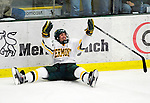 18 October 2009: University of Vermont Catamount forward Chris McCarthy, a Freshman from Collegeville, PA, celebrates scoring his first goal as a Catamount against the Boston College Eagles at Gutterson Fieldhouse in Burlington, Vermont. The Catamounts defeated the Eagles 4-1 to open Vermont's America East hockey season. Mandatory Credit: Ed Wolfstein Photo