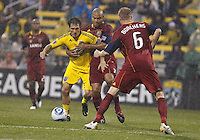 24 APRIL 2010:  Guillermo Barros Schelotto, Real Salt Lakes' Robbie Russell (3) and Real Salt Lakes' Nat Borchers (6) during the Real Salt Lake at Columbus Crew MLS soccer game in Columbus, Ohio. Columbus Crew defeated RSL 1-0 on April 24, 2010.