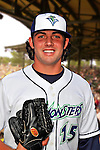24 June 2008: Vermont Lake Monsters pitcher Austin Garrett. Baseball Card Image for 2008. For in-house use by the Vermont Lake Monsters Only. Editorial or other use of images by other publications or media outlets must secure licensing from the photographer Ed Wolfstein prior to publication, and is based on standards of circulation, and placement in a given publication...Mandatory Credit: Ed Wolfstein.