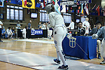 12 February 2017: UNC's Jackie Litynski reacts during Saber. The Duke University Blue Devils hosted the University of North Carolina Tar Heels at Card Gym in Durham, North Carolina in a 2017 College Women's Fencing match. Duke won the dual match 14-13 overall and 7-2 in Epee. UNC won Foil 6-3 and Saber 5-4.