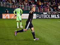 Charlie Davies (9) of D.C. United celebrates his goal during the game at RFK Stadium.  D.C. United tied the LA Galaxy, 1-1.