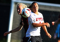 WINSTON-SALEM, NORTH CAROLINA - August 30, 2013:<br />  Charlyn Corral (9) of Louisville University goes for a loose ball with Kelsey Loupee (9) of Virginia Tech during a match at the Wake Forest Invitational tournament at Wake Forest University on August 30. The game ended in a 1-1 tie.