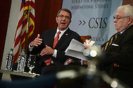 Washington, DC - April 5, 2016: U.S. Secretary of Defense Ashton Carter participates in a discussion on the future of the Department of Defense, moderated by former Secretary William S. Cohen (r), at the Center for Strategic and International Studies in the District of Columbia, April 5, 2016.  (Photo by Don Baxter/Media Images International)