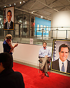 Dan Myer, a self-proclaimed Democrat, at the Your Land/My Land exhibit at CAM Raleigh, Election Day, November 6, 2012. .