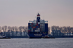 Ship being turned by tugs,Hamburg, Germany