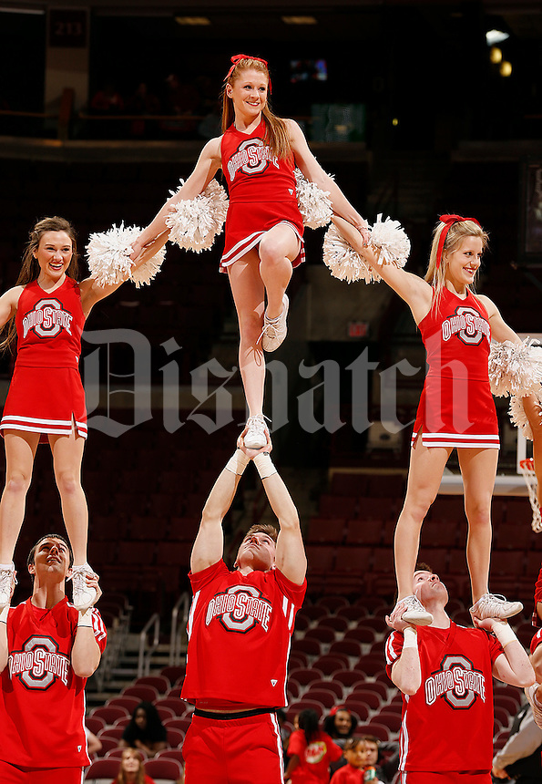 Ohio State Womens Basketball cheerleaders perform in the second half of their game against the Illinois Fighting Illini at the Value City Arena in Columbus, Ohio on January 30, 2014. (Columbus Dispatch photo by Brooke LaValley)