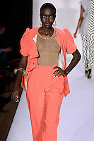 Model walks the runway in an outfit by Samantha Black, from the Samantha Black Spring Summer 2012 collection, during Style 360 Fashion Week Spring 2012.