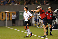 Stephanie Cox, Pia Sundhage...USWNT tied Sweden 1-1 at Morrison Stadium, Omaha Nebraska.