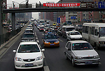 Asia, China, Beijing. Traffic congestion in the streets of Beijing, China.