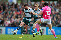 Freddie Burns of Leicester Tigers puts in a grubber kick. European Rugby Champions Cup quarter final, between Leicester Tigers and Stade Francais on April 10, 2016 at Welford Road in Leicester, England. Photo by: Patrick Khachfe / JMP