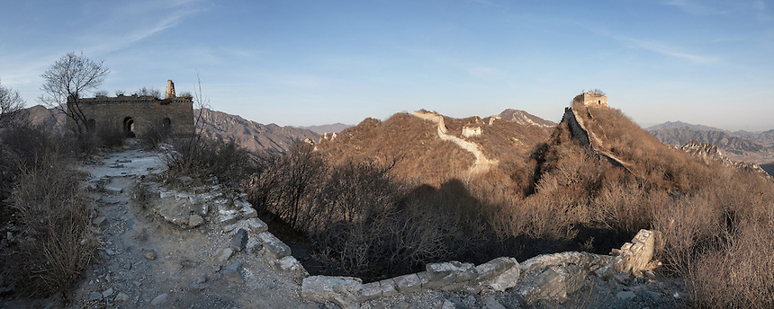 Panoramic photograph of Jiankou Great Wall area. Made from 7 images.