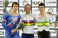 Picture by Simon Wilkinson/SWpix.com - 03/03/2017 - Cycling 2017 UCI Para-Cycling Track World Championships, Velosports Centre, Los Angeles USA - Podium - Jody Cundy, Jozef Metelka and Kyle Bridgwood