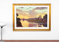 "Burtt: Dusk Over Goleta Slough, Digital Print, , Framed Dims. 31.5"" x 43.5"" x 1"""