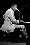 """Memphis Slim, Great American Music Hall, Oct. 7, 1985; an American blues pianist, singer, and composer. He led a series of bands that, reflecting the popular appeal of jump blues, included saxophones, bass, drums, and piano. A song he first cut in 1947, """"Every Day I Have the Blues,"""" has become a blues standard, recorded by many other artists. Slim made over 500 recordings."""