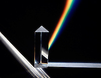 WHITE LIGHT REFRACTED BY A PRISM<br /> Formation of a Spectrum<br /> The various wavelengths of visible light, a small part of the electromagnetic spectrum, are separated because the refractive index of the prism substance varies for the different wavelengths.